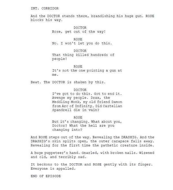 Robert Shearman's seventh page of script extracts from Doctor Who, courtesy of BBC.