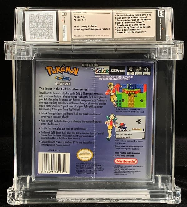 The rear face of a high-grade Pokémon Crystal version, up for auction at Comics Connect right now!