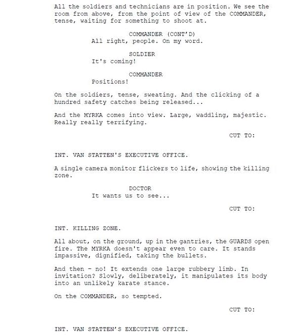Robert Shearman's fifth page of script extracts from Doctor Who, courtesy of BBC.
