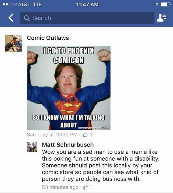 Is This Comic Outlaws' Most Offensive Social Media Post Yet?