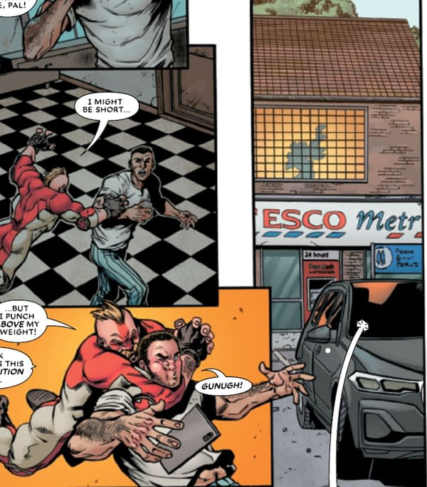 Marvel Superhero Lives Above A Tesco Metro - And Reads i Newspaper