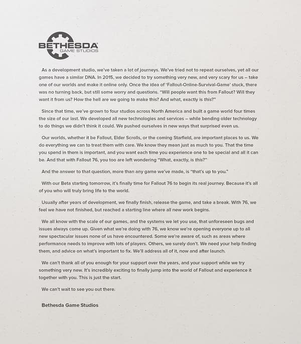 Bethesda Softworks Pens a Letter About Ongoing Support for Fallout 76
