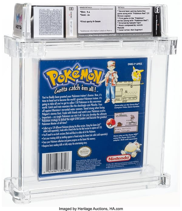 The back face of the box for the sealed copy of Pokémon Blue Version, one of the first entries into the Pokémon video game series in English. Currently available on auction at Heritage Auctions' website.