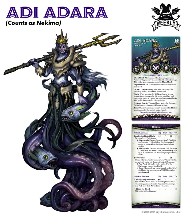 The art and both sides of the stat card for Adi Adara, the Nightmare Edition version of Nekima. Image attributed to Wyrd Games for their tabletop skirmish game Malifaux.