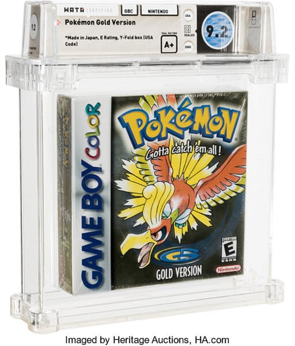 The graded, sealed copy of Pokémon Gold Version up for auction at Heritage Auctions right now! Note that the holofoil which has not faded, like so many other copies of this game.