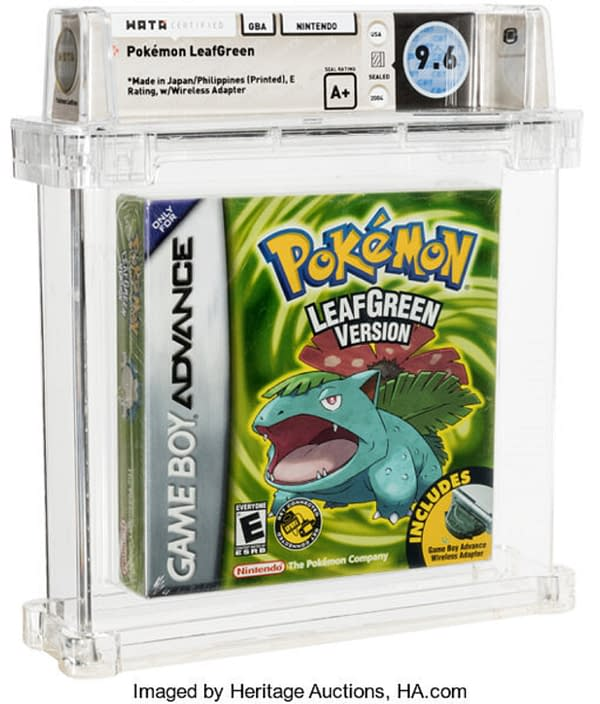 The front cover of the sealed box for Pokémon Leaf Green Version, on auction at Heritage Auctions now until January 17th.