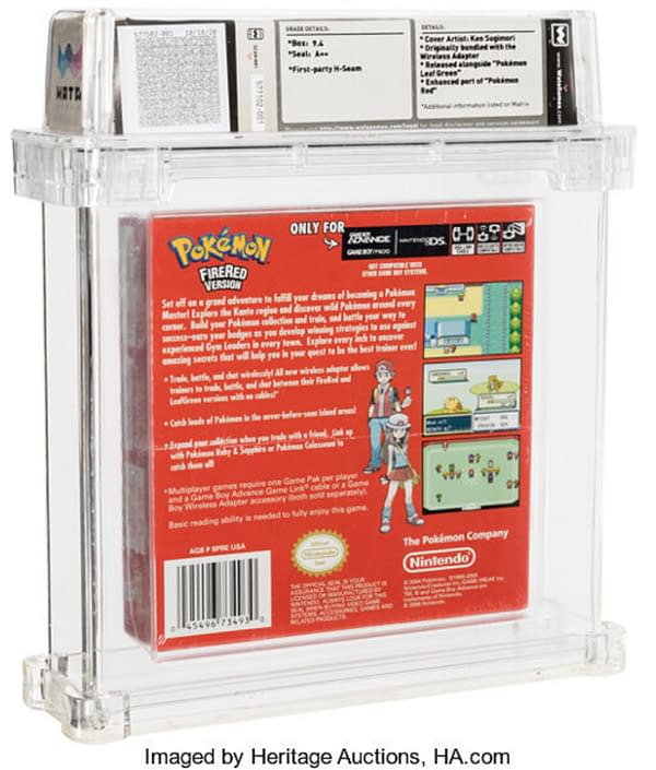 """The back of the sealed box for the """"Player's Choice"""" edition of Pokémon Fire Red Version, on auction at Heritage Auctions now until January 17th."""