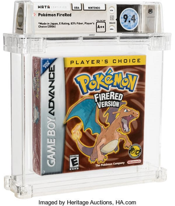 """The front cover of the sealed box for the """"Player's Choice"""" edition of Pokémon Fire Red Version, on auction at Heritage Auctions now until January 17th."""
