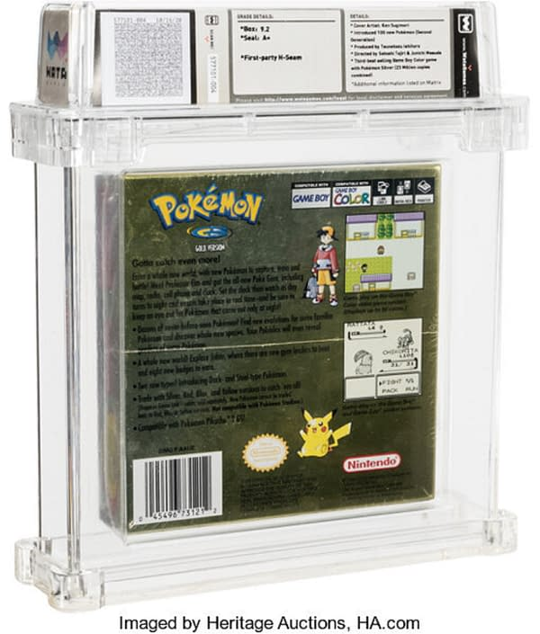 The back face of the box of Pokémon Gold, up for auction at Heritage Auctions right now! Again kindly note the holofoil finish which has not faded.
