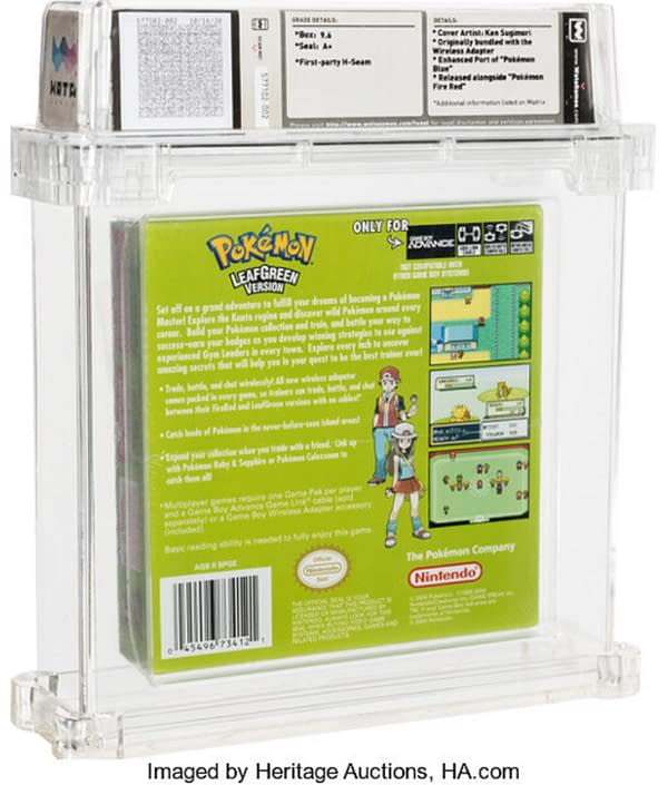 The back of the sealed box for Pokémon Leaf Green, on auction at Heritage Auctions now until January 17th.