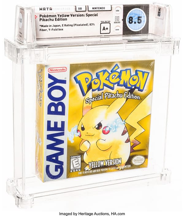 The front of the box for the graded copy of Pokémon Yellow Version. Currently available at Heritage Auctions.