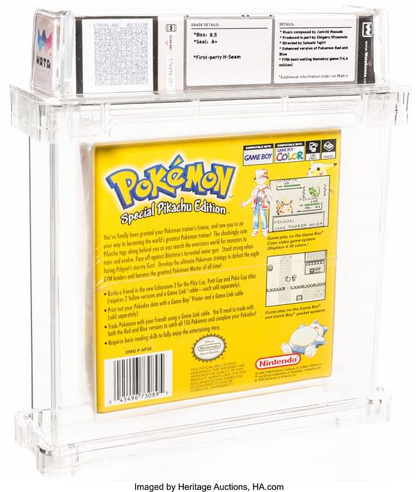 The back face of the box for the graded copy of Pokémon Yellow Version. Currently available at Heritage Auctions.