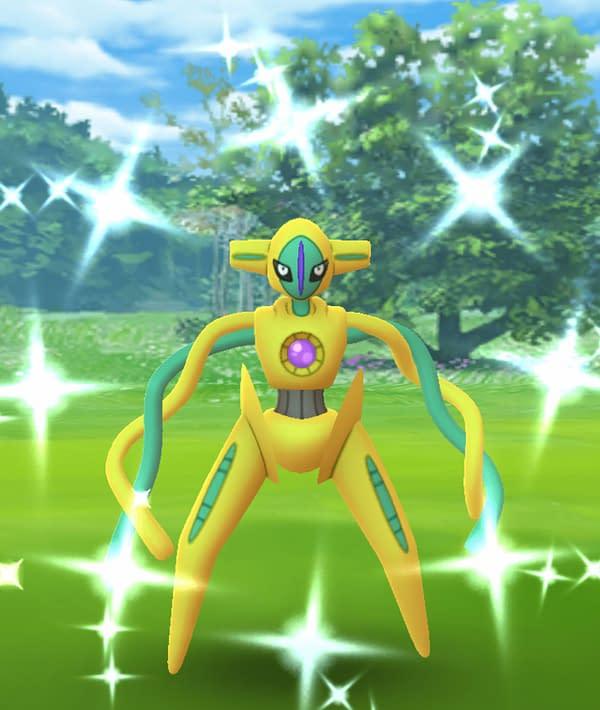 Shiny Deoxys Raid Hour in Pokémon GO. Credit: Niantic