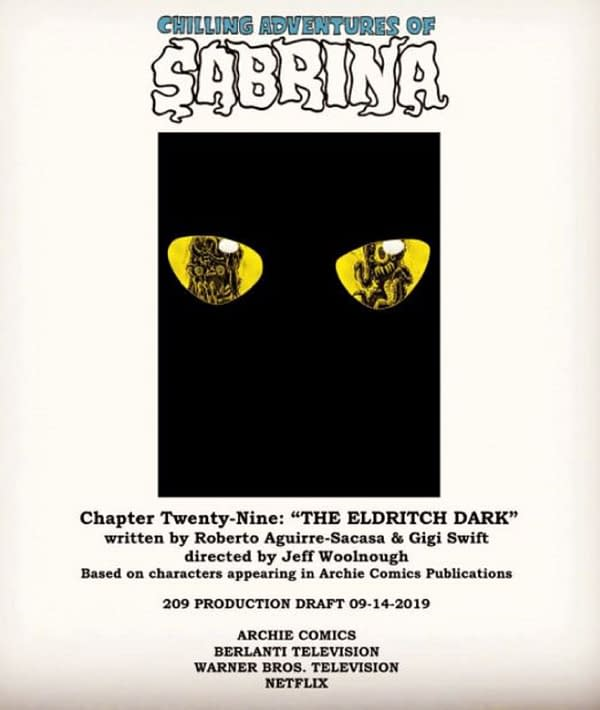 Chilling Adventures of Sabrina released the first episode script art. (Image: Netflix)