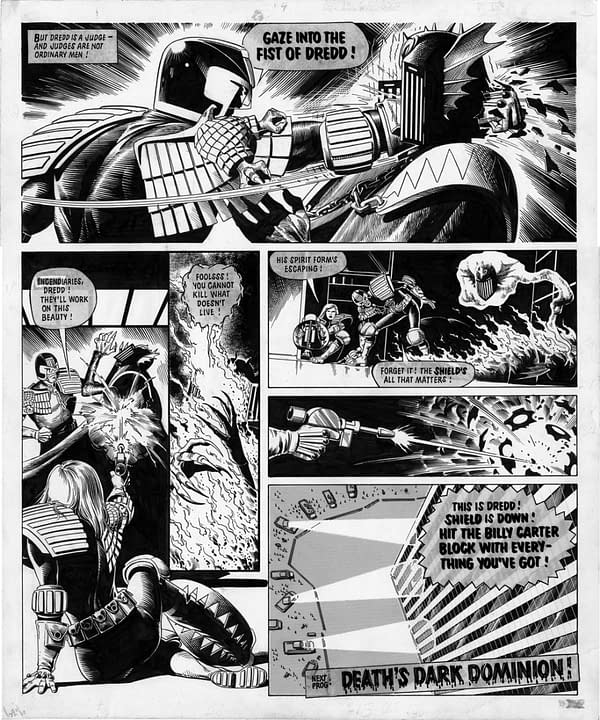 Gaze into the fist of Dredd, by Brian Bolland from 2000AD.