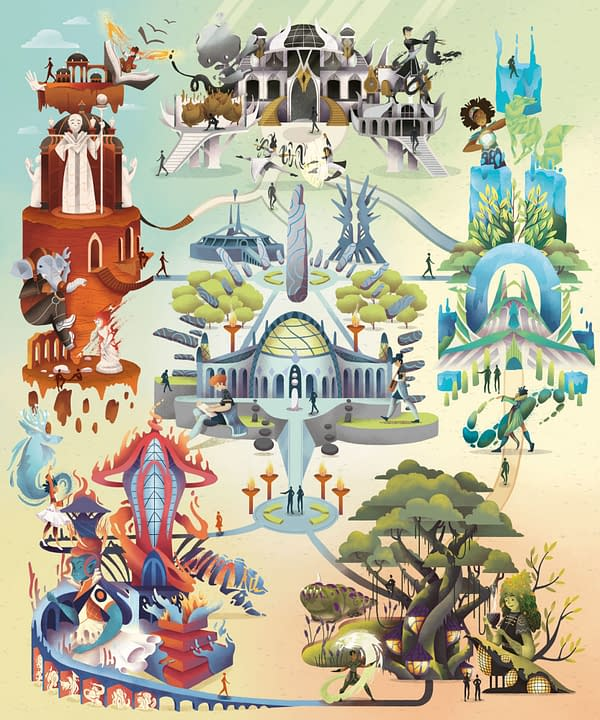The Strixhaven campus map, as illustrated by Luiza Laffitte. This stylized interpretation shows the five colleges as well as the Biblioplex and the Wizards' Tower Stadium.