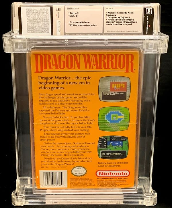The back of the box for the Dragon Warrior graduated copy for the NES.  Currently available for auction on the Comic Connect website.