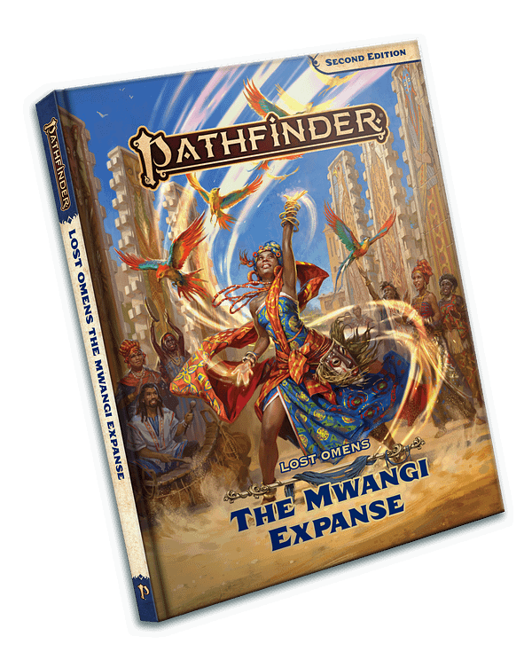 An image of the hardcover copy of Pathfinder: Lost Omens - The Mwangi Expanse, a new sourcebook for players of Paizo's fantasy role-playing game.