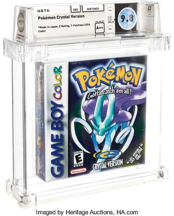 The front face of the remarkably well-preserved graded copy of Pokémon Crystal up for auction at Heritage Auctions right now!