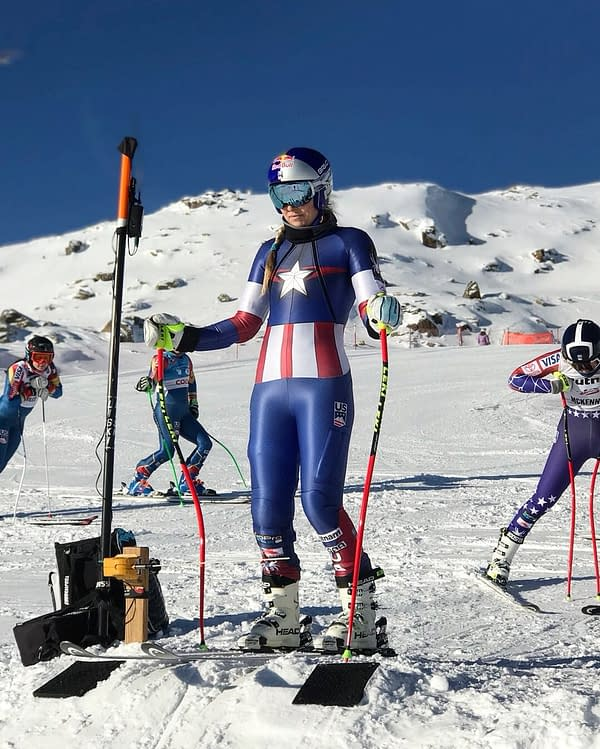 Olympic Skier Lindsey Vonn Hits the Slopes as Captain America