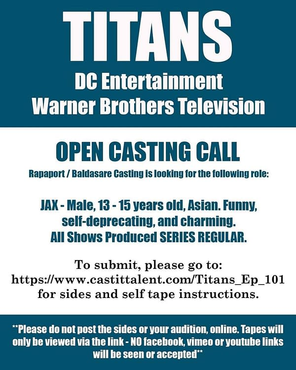 Titans Casting Call For Beast Boy – 13 To 15 Year Old Asian Male