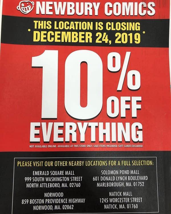 Newbury Comics Closes Bellingham, Massachussetts Store, Tomorrow