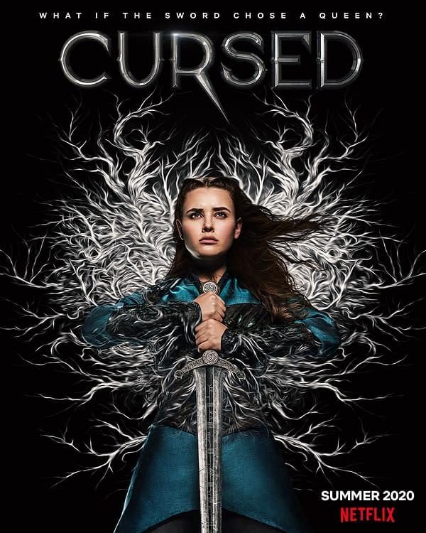 Nimue is ready to take on any dangers in Cursed, courtesy of Netflix.