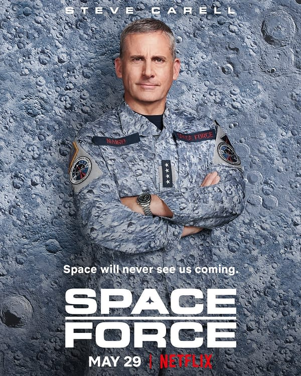 Steve Carell rocks the latest in lunar camo in Space Force, courtesy of Netflix.