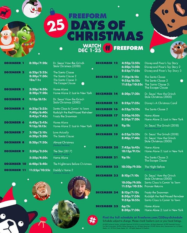 Freeform Reveals 25 Days Of Christmas Line-Up, Starts Tuesday