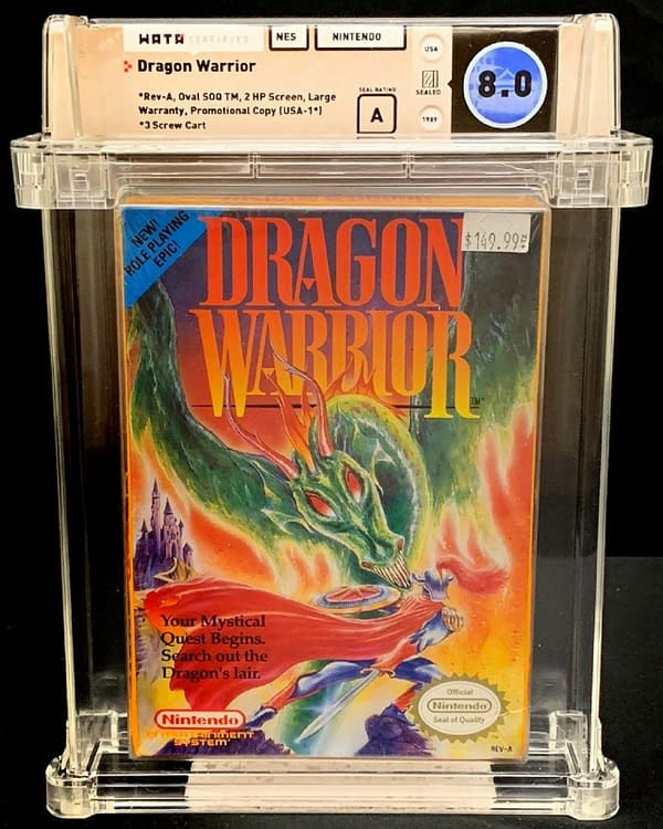 The front of the box for this graded copy of Dragon Warrior for the Nintendo Entertainment System. Currently available on auction at ComicConnect's website.