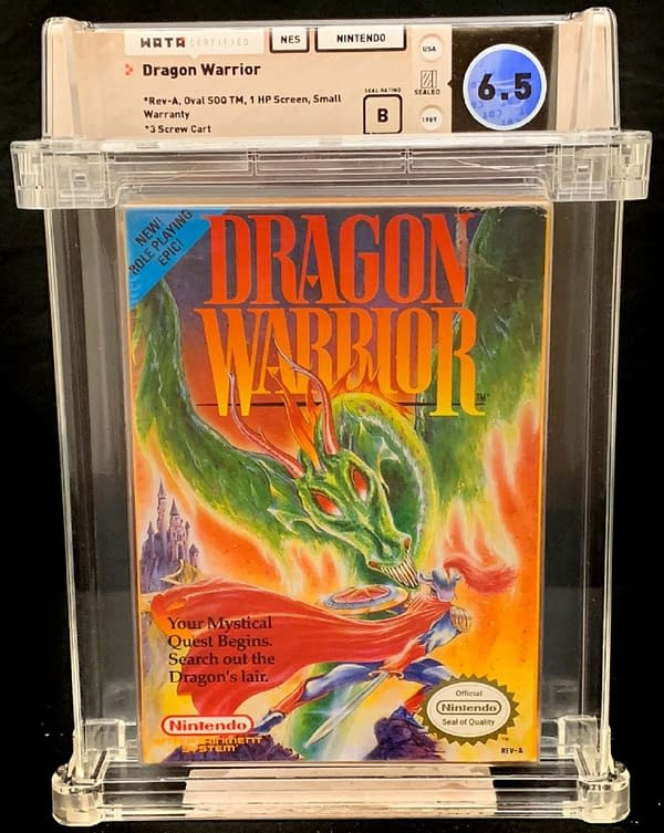 The front of the box for the Dragon Warrior graduated copy for the NES.  Currently available for auction on the Comic Connect website.
