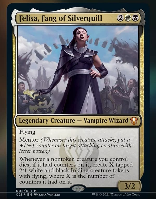 Felisa, Fang of Silverquill, a new legendary creature card from Commander 2021, the new release for Magic: The Gathering. Image revealed by MTGMuddstah on YouTube.
