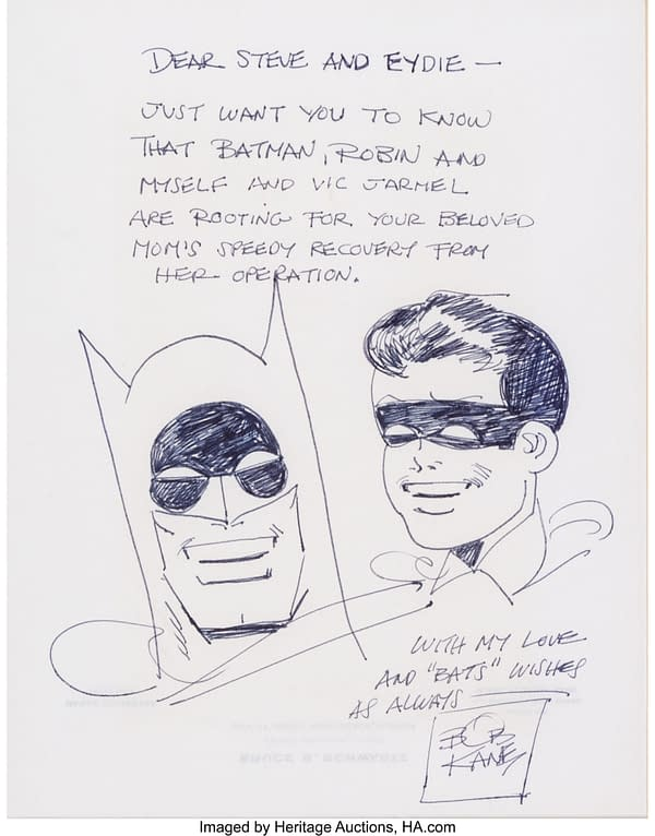 Bob Kane's Batman & Robin Sketch For A Mother's Operation, At Auction