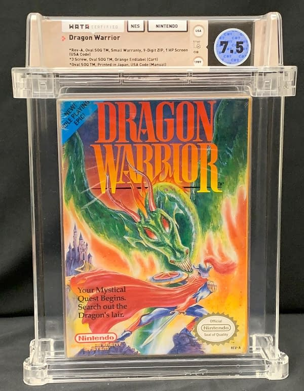 The front of the graded box for this auction, a copy of Dragon Warrior for the Nintendo Entertainment System.