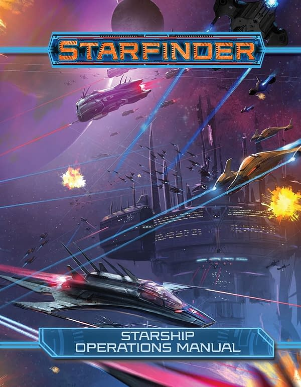 The Starship Operations Manual for Starfinder, the science-fiction analog to Paizo's Pathfinder fantasy role-playing game.