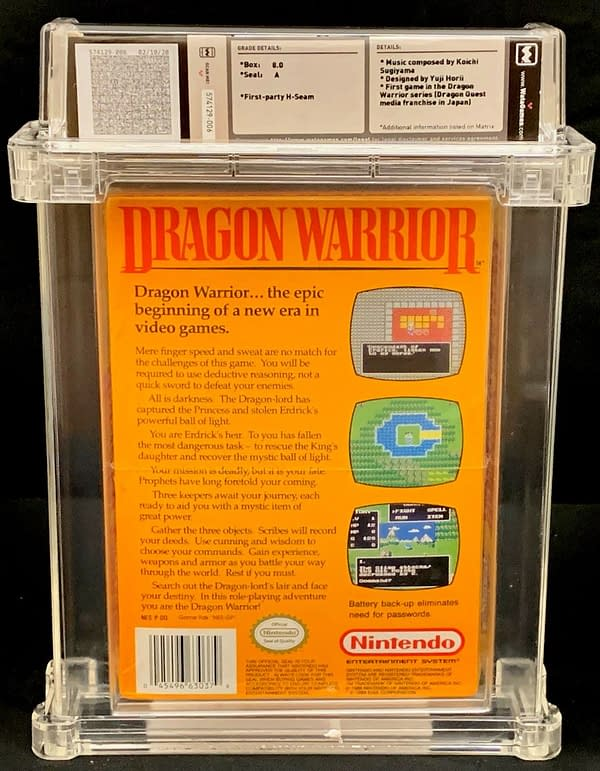 The back face of the box for this graded copy of Dragon Warrior for the Nintendo Entertainment System. Currently available on auction at ComicConnect's website.