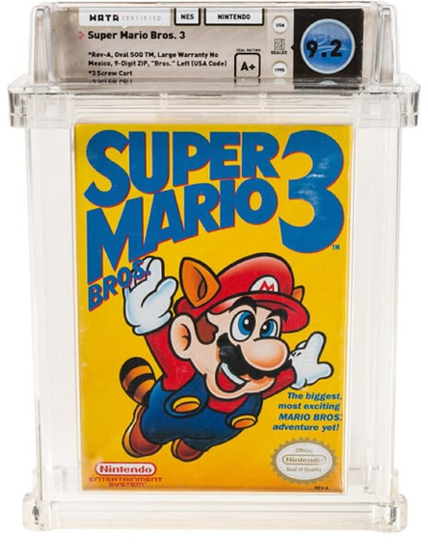 A look at the Super Mario Bros. 3 box that sold this past week, courtesy of Heritage Auctions.