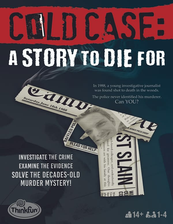 The front of the box for ThinkFun and Ravensburger's immersive true crime game, Cold Case: A Story To Die For. Preorders start on May 18th.