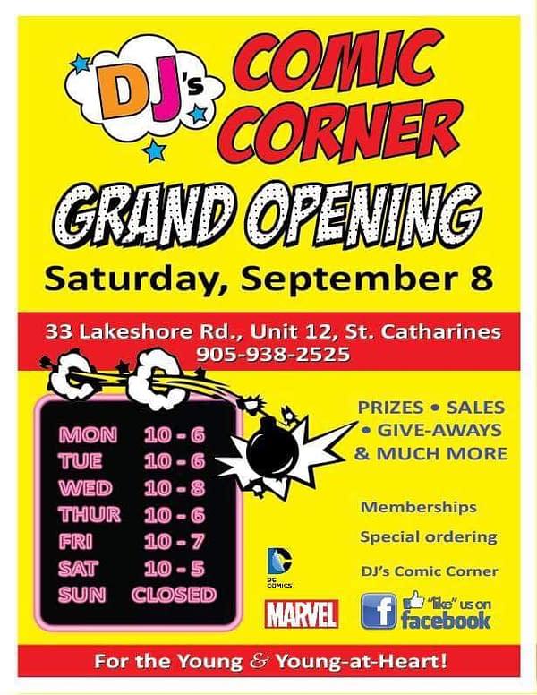 DJ's Comic Corner inSt Catherine's, Ontario Opened This Past Weekend
