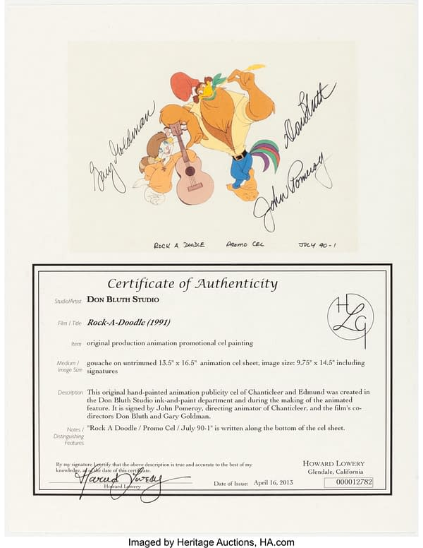 Rock-A-Doodle Publicity Cel Certificate of Authenticity. Credit: Heritage