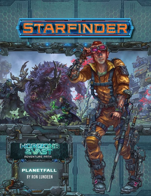 The cover for Starfinder: Horizons of the Vast - Planetfall, a new Adventure Path module for the Starfinder science-fiction role-playing game by Paizo.