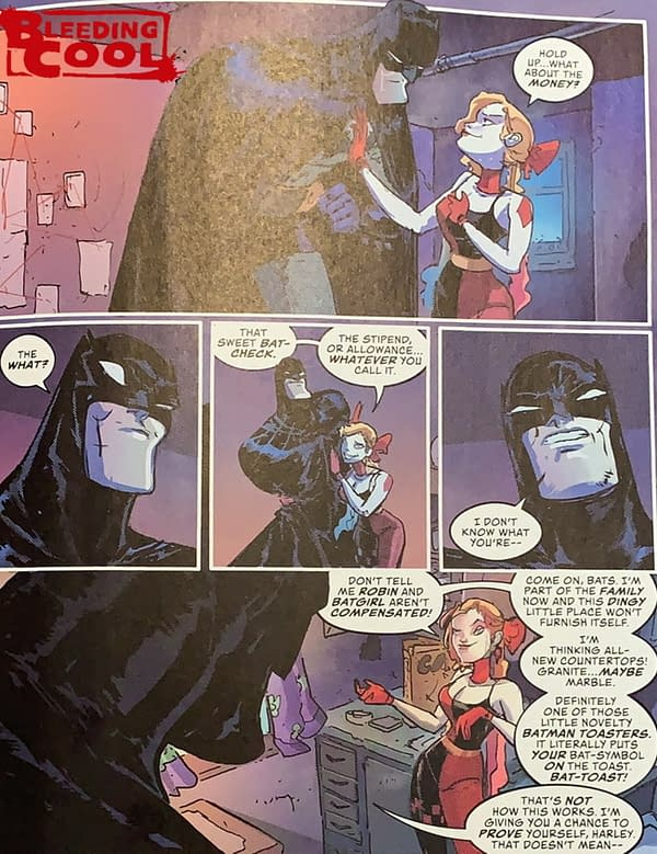 Harley Quinn Would Really Like To Get Paid By Batman (Spoilers)