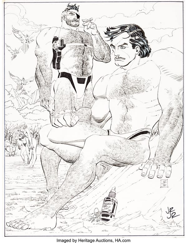 Swole Iron Man & Nick Fury Art Page On Auction At Heritage