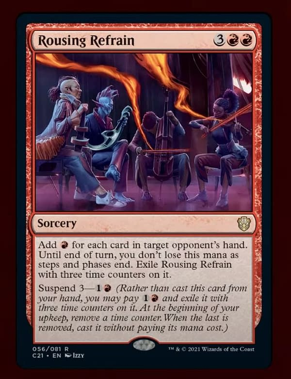 """Rousing Refrain, a new card from the """"Prismari Performance"""" preconstructed deck from Commander 2021. Image from Commander VS at Star City Games."""