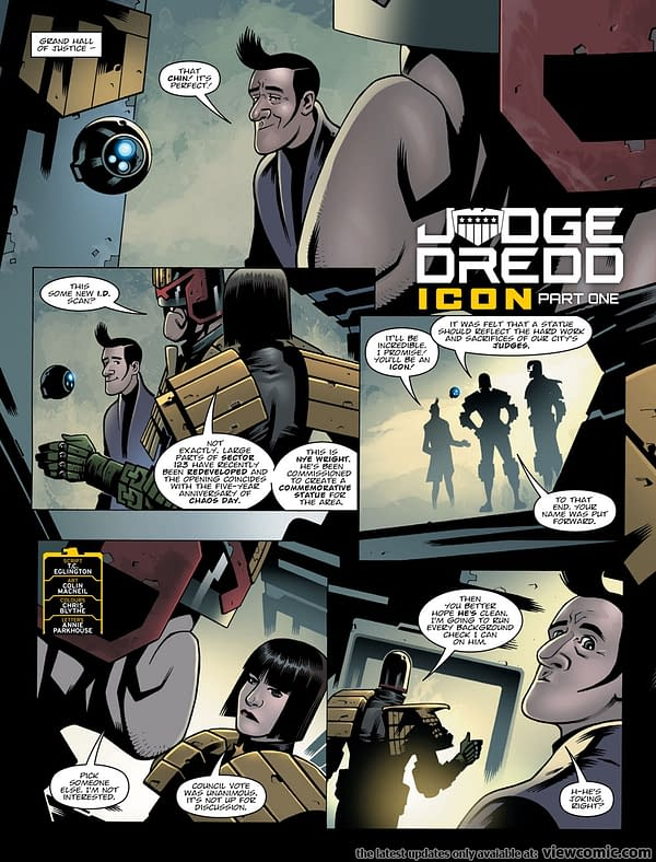 Interior art from 2000 AD #2050's Judge Dredd story by Colin MacNeil and Chris Blythe
