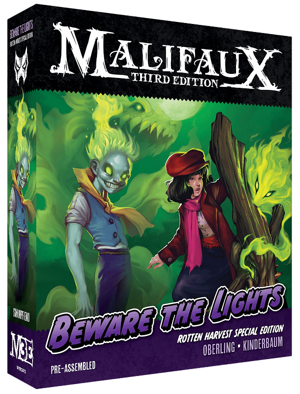 The front of the box for Beware The Lights, a limited-edition boxed set for Malifaux, a wargame by Wyrd Games.