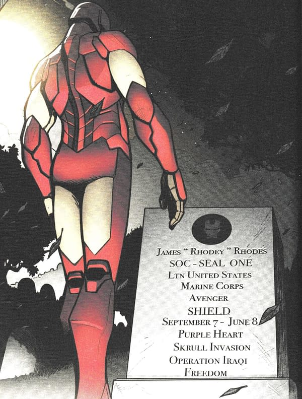 Taking a Look at James Rhodes' Gravestone in Invincible Iron Man #599
