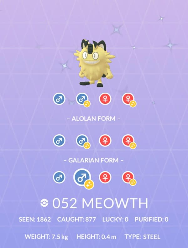 Shiny Galarian Meowth is currently unreleased but viewable in Pokémon GO. Credit: Niantic