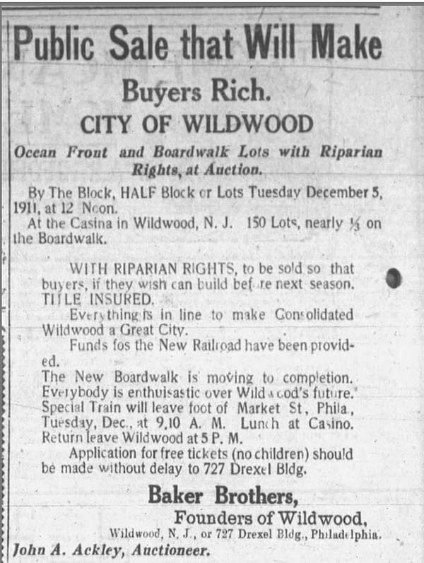 1911 Newspaper Announcement of Wildwood, NJ real estate auction.