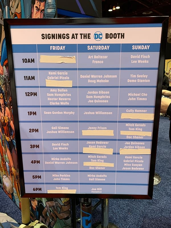 Updates from the DC Booth at C2E2 - Cancellations and Signing Times